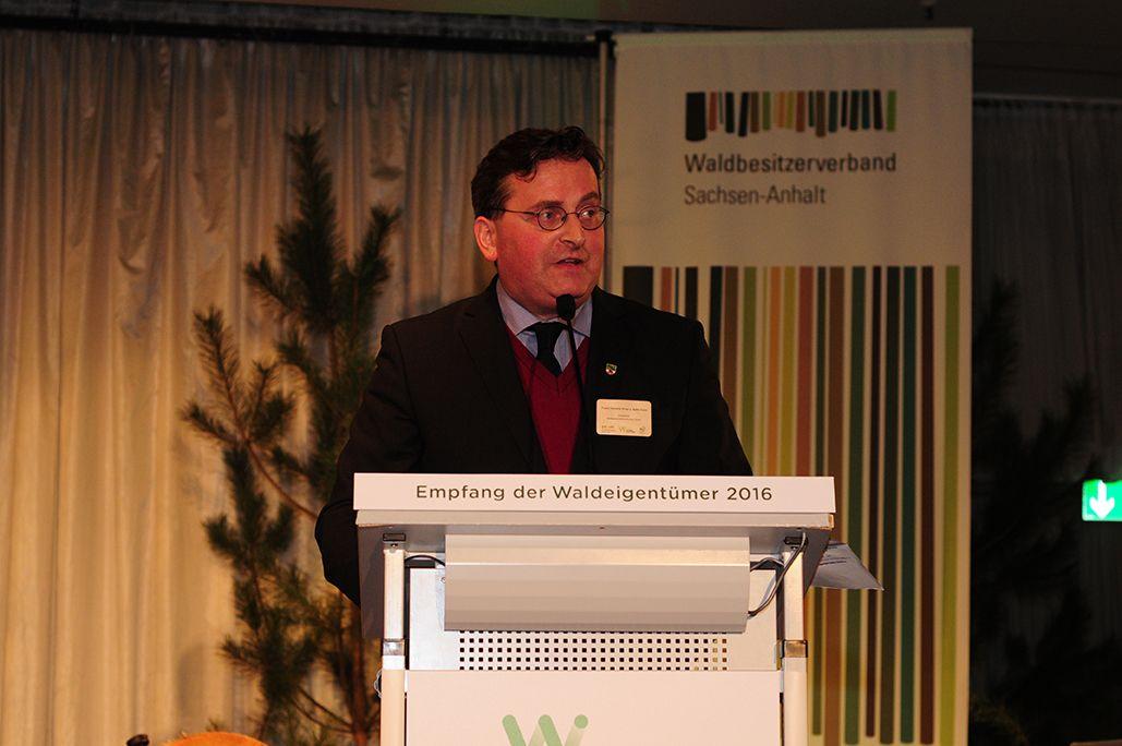 Franz Prinz zu Salm-Salm, Vorsitzernder des Waldbesitzerverbandes Sachsen-Anhalt, bei seiner Rede